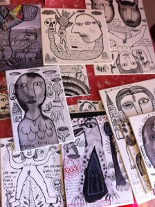 A selection of drawings by Arwin Hidayat, all made during his recent trip to Melbourne