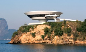 Exterior of the Niteroi Contemporary Art Museum, Brazil (designed by Oscar)
