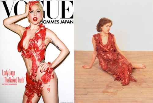 Left: one of Gaga's meat numbers.  Right: