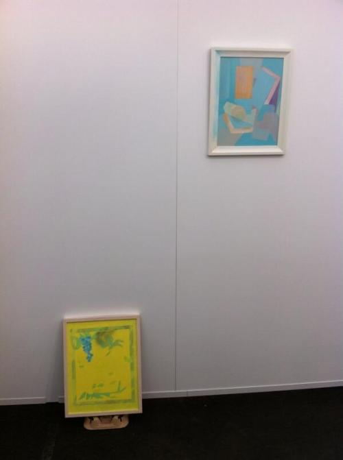 Two paintings by Saskia Leek, installation view.
