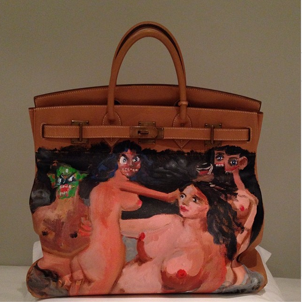 One-off Birkin bag modified by painter George Condo