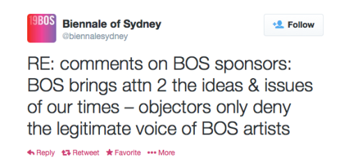 Above: the only response to date from the Biennale of Sydney regarding demands to drop Transfield sponsorship