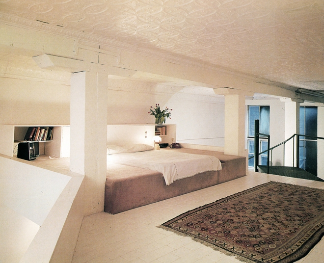 The Rosalind Krauss loft (1976), with a custom platform bed