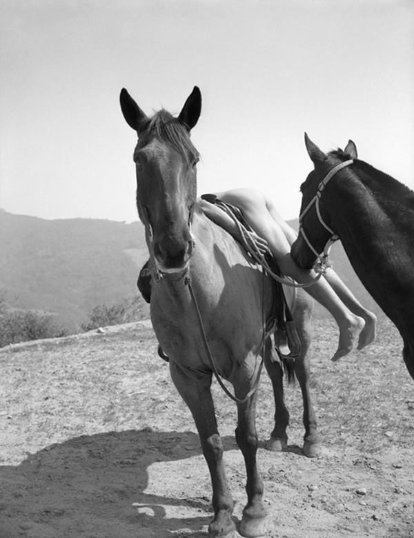 Bob Mizer, 'Everett Lee Jackson with Two Horses, Los Angeles', c. 1959