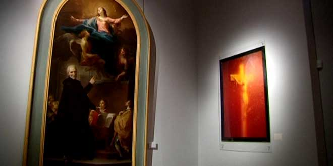 Andres Serrano's 'Piss Christ' installed next to