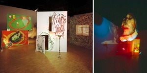 The Poetics Project by Mike Kelley and Tony Oursler. Installation view at Centre Pompidou, Paris, featuring a projected interview with Genesis Breyer P Orridge (right)