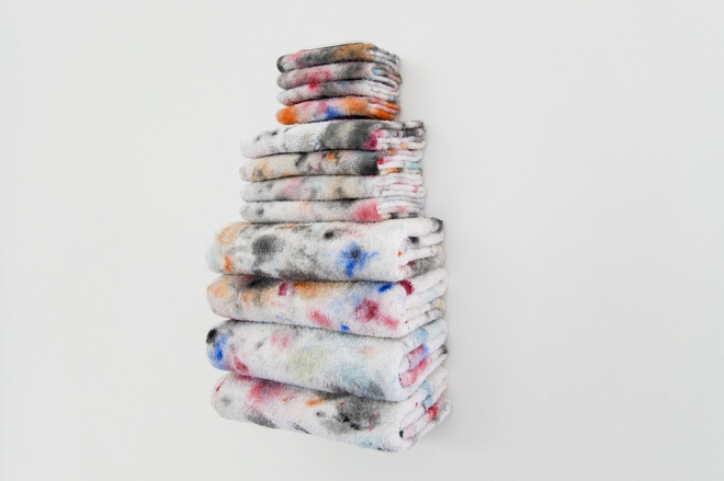Amanda Ross-Ho, Untitled Textile Arrangement (Towel Rack), 2014