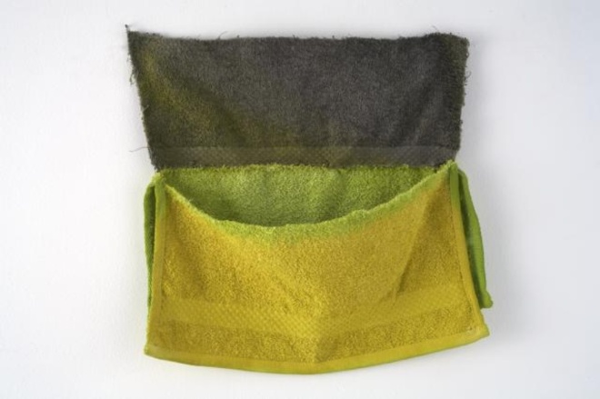 Paul Lee, Untitled 2006, bathtowel, cotton, threads, ink, 30.5 x 30.5cm