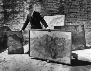 The late Peter McLeavey with works by Toss Woolaston, photographed by Marti Friedlander
